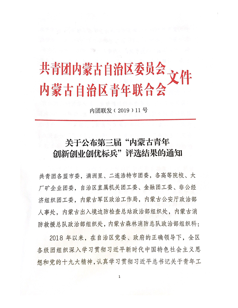 荣获第三届内蒙古青年创新创业创优 标兵集体荣誉称号
