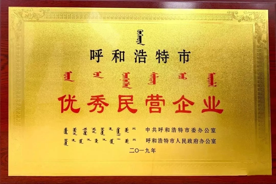荣获呼和浩特市优秀民营企业荣誉称号